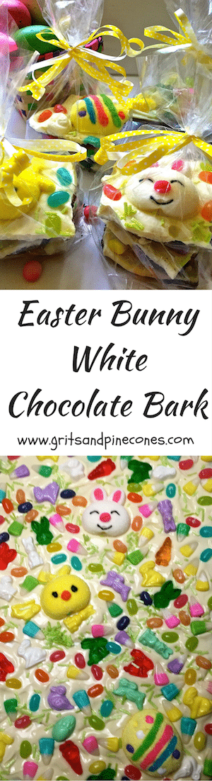 Easy Easter Bunny White Chocolate Bark is creamy white chocolate over chocolate graham crackers, topped with whimsical and colorful Easter candy.