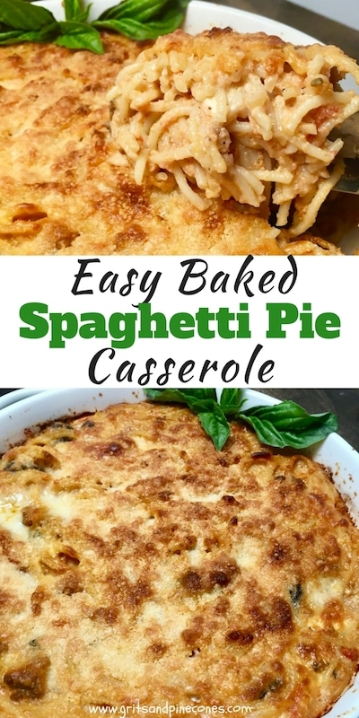 This Easy Baked Spaghetti Pie recipe is full of pasta, Italian sausage, mushrooms, and black olives, and features a rich tomato sauce full of three kinds of cheese, fontina, feta, and Parmesan!  It's the ultimate comfort food, leftovers are even better the next day, freezes well and is a great casserole to take to a new neighbor or sick friend! #pasta, #dinner, #dinnerrecipe, #easydinner, #comfortfood, #sundaysupper