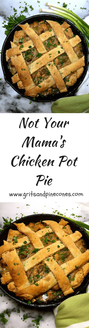 Not Your Mama's Chicken Pot Pie is a delicious mix of chicken, broccoli, and mushrooms covered with puff pastry.