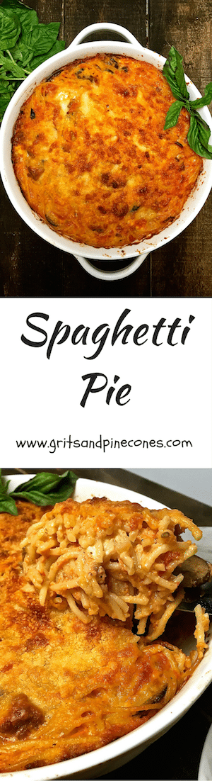Spaghetti Pie is spaghetti, Italian sausage, mushrooms, black olives, and a rich tomato sauce with fontina, feta, and Parmesan cheese!