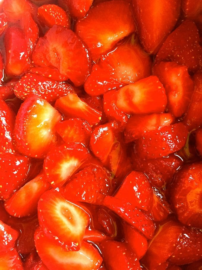 Macerated strawberries for Strawberry Trifle with Angel Food Cake