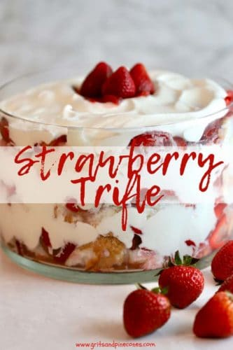 Strawberry Trifle with Angel Food Cake Pinterest pin