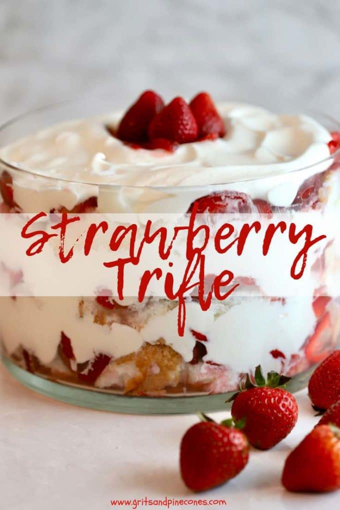 No-bake, make-ahead Strawberry Trifle with Angel Food Cake recipe with fresh juicy strawberries, creamy whipped cream, and heavenly angel food cake is an easy, elegant and delicious dessert and makes a sweet ending to any meal #desserts, #dessertrecipes, #easydesserts, #nobakedesserts, #strawberries, #strawberryrecipes, #trifle