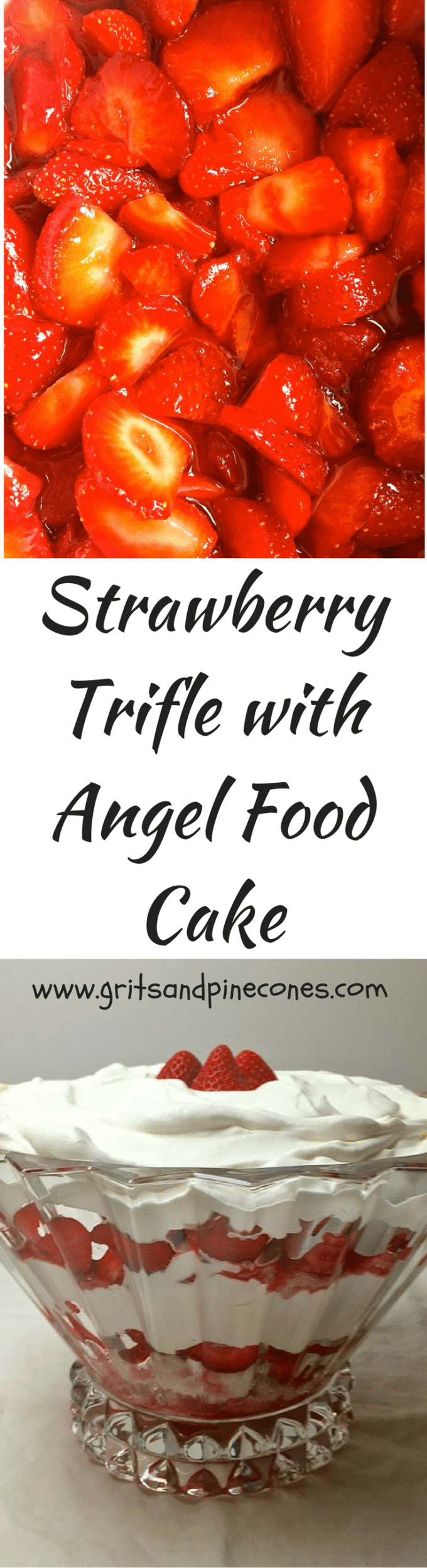 Strawberry Trifle with Angel Food Cake with fresh strawberries, whipped cream, and heavenly angel food cake is easy, elegant and delicious!