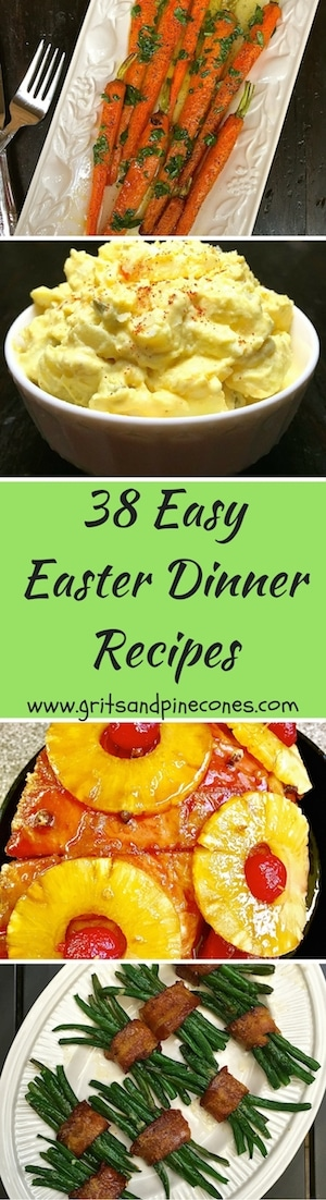 38 Easy Easter Dinner Recipes is a compilation of traditional and classic Easter recipes, menus and ideas for delicious main dishes, sides, salads, bread, and decadent desserts. Our hope is these ideas will make it easy for you to plan and prepare an unforgettable Easter meal that will wow your family and guests!