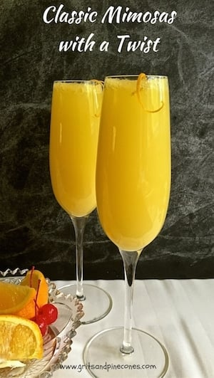 Citrusy Classic Mimosas with a Twist are light and delicious and would be the highlight of breakfast in bed or an elegant brunch for Mom on Mother's Day!