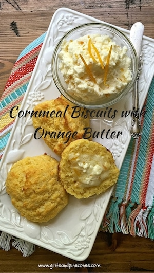Treat your family to hot, crispy Cornmeal Biscuits slathered with melty, citrusy Orange Butter for breakfast or brunch on Christmas morning. They are super simple to make and super delicious!
