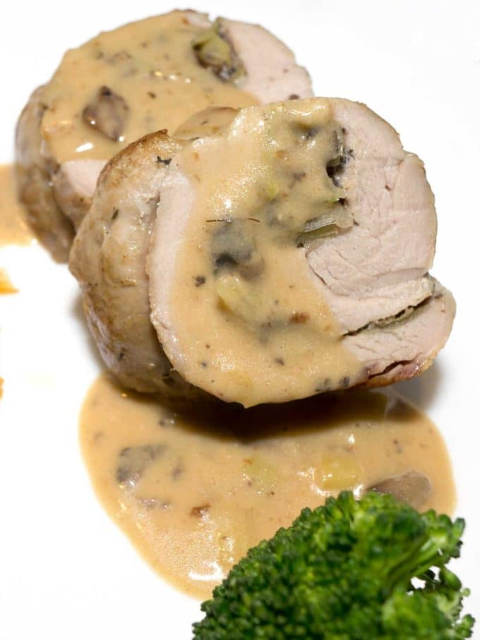 Two slices of pork tenderloin with mushrooms.