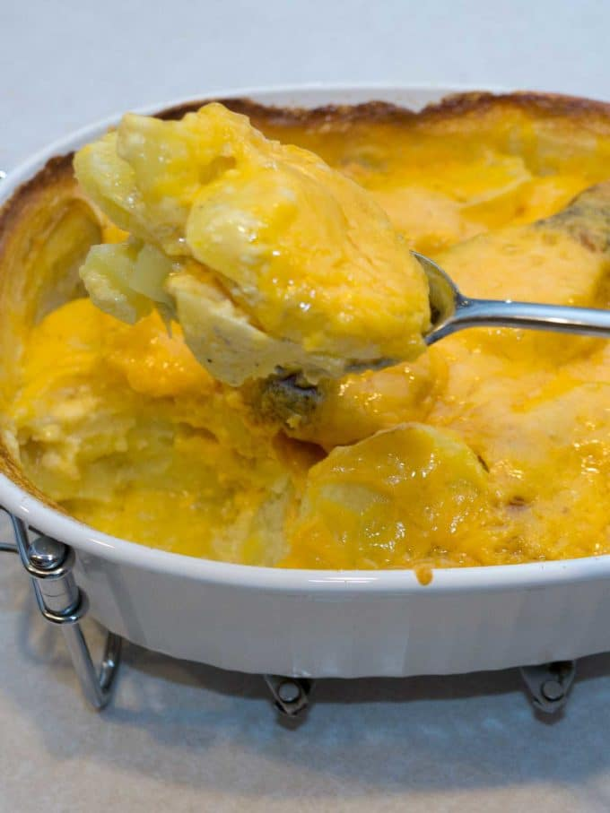 Scalloped potatoes in a baking dish.