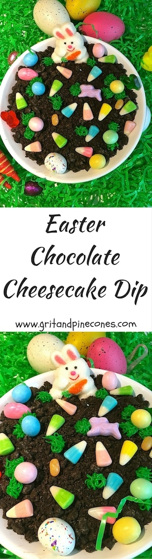 Easter Chocolate Cheesecake Dip is a bit of fun and whimsy, a great Easter activity for the kids and a delicious Easter dessert.