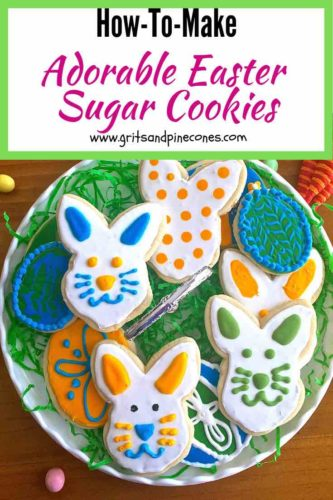A plateful of adorable decorated Easter bunny rabbit cookies
