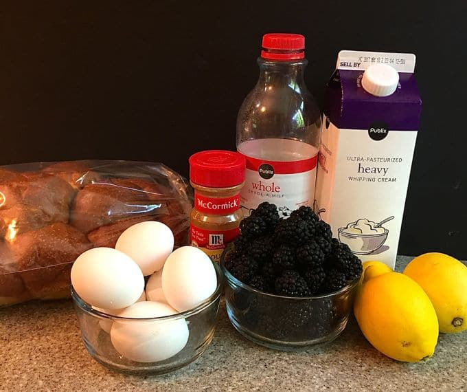 Simple Lemon Blackberry Bread Pudding ingredients which are challah bread, eggs, blackberries, milk, and lemon