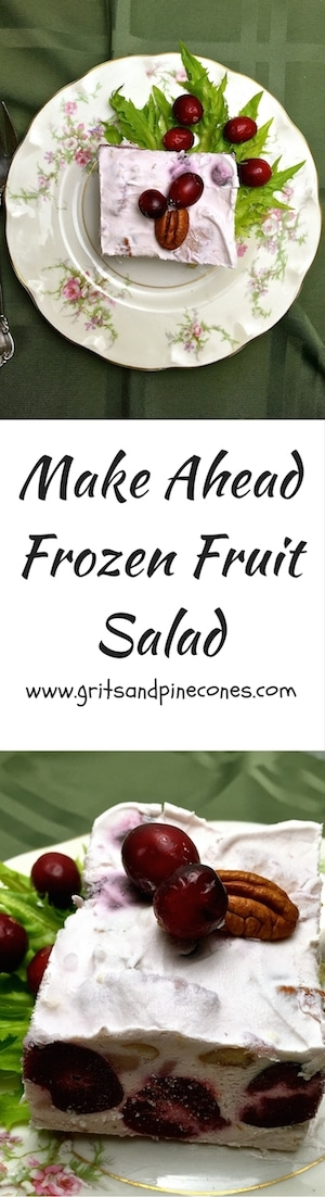 Make Ahead Frozen Fruit Salad is a light and refreshing fruit salad full of pineapple, cherries, and pecans and it's perfect for Easter.