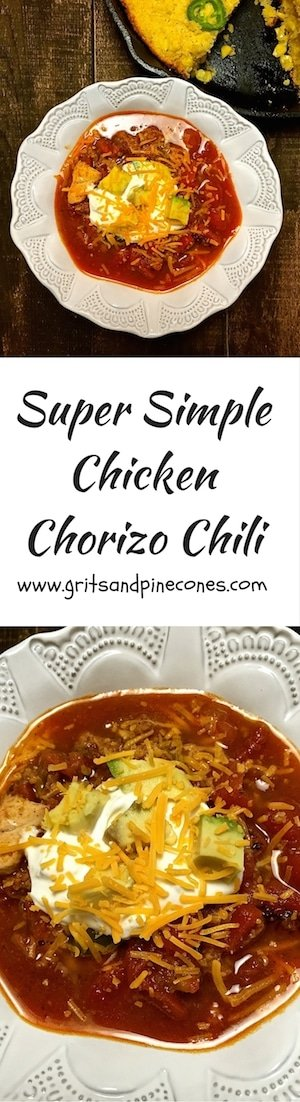 Super Simple Chicken Chorizo Chili is a delicious combination of chicken, chorizo sausage, peppers, onions, black beans, salsa verde, and fire roasted tomatoes.