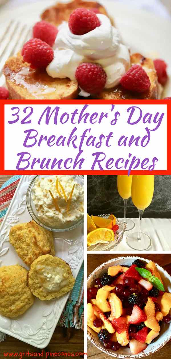 For Moms, Mother's Day isn't about fancy gifts. For a really meaningful Mother's Day how about treating Mom to a scrumptious homemade breakfast or brunch with one or more of these easy 32 Mother's Day Breakfast and Brunch Recipes? You will find loads of simple ideas from breakfast casseroles to mimosas, to french toast, and everything in between for Mom on her special day! #mothersdayrecipes, #mothersdaybrunch, #mothersdaybreakfast #mothersdayfood