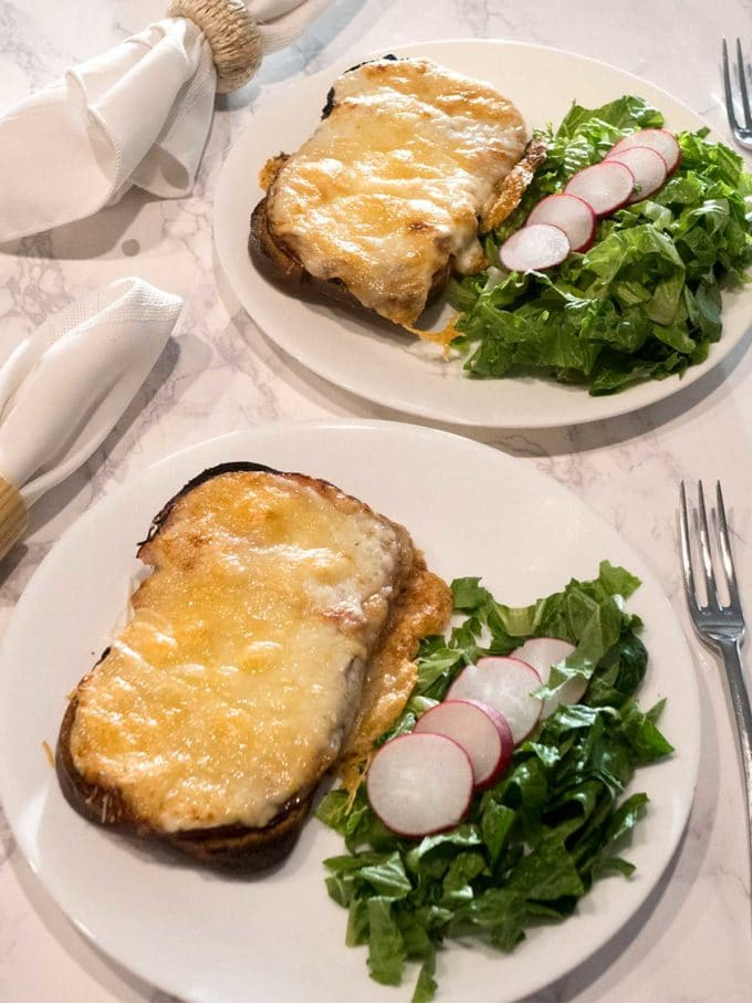 Croque Monsieur, which is somewhat of a French grilled cheese sandwich