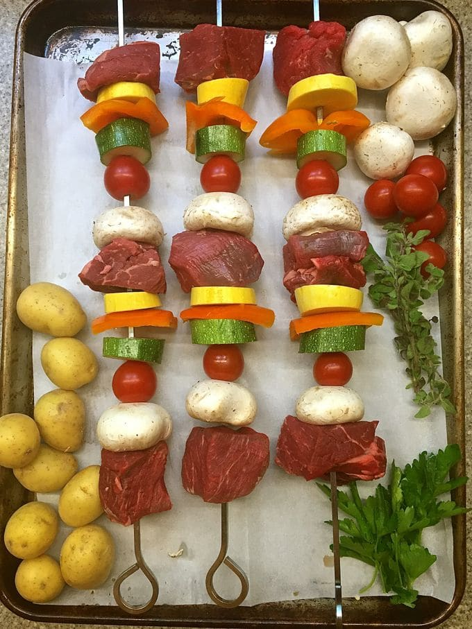 Assembling Steak Shish Kabobs