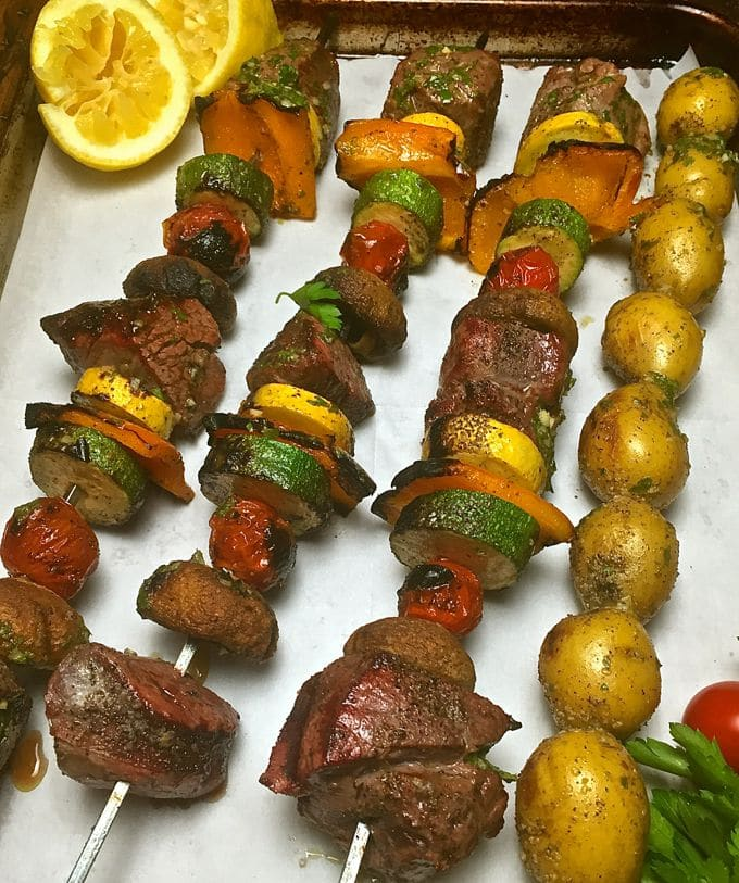 Steak Shish Kabobs with Chimichurri Sauce after grilling