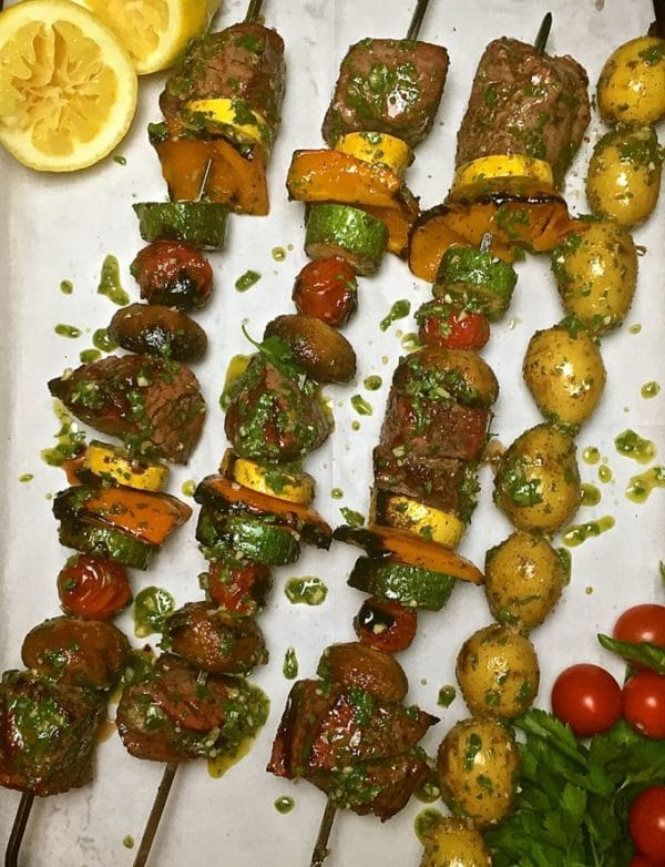 Steak Shish Kabobs with Chimichurri Sauce hot off the grill