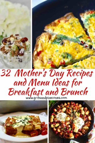 A collage of Mother's Day recipes for breakfast and brunch Pinterest pin.