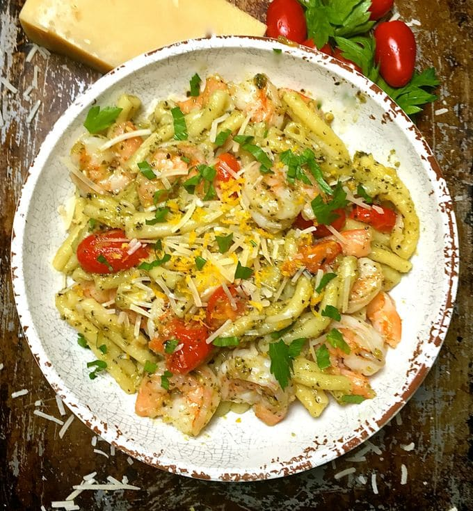 Pesto Pasta with Shrimp and Tomatoes ready to serve