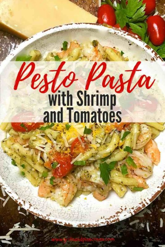 Pesto Pasta with Shrimp and Tomatoes pinterest pin