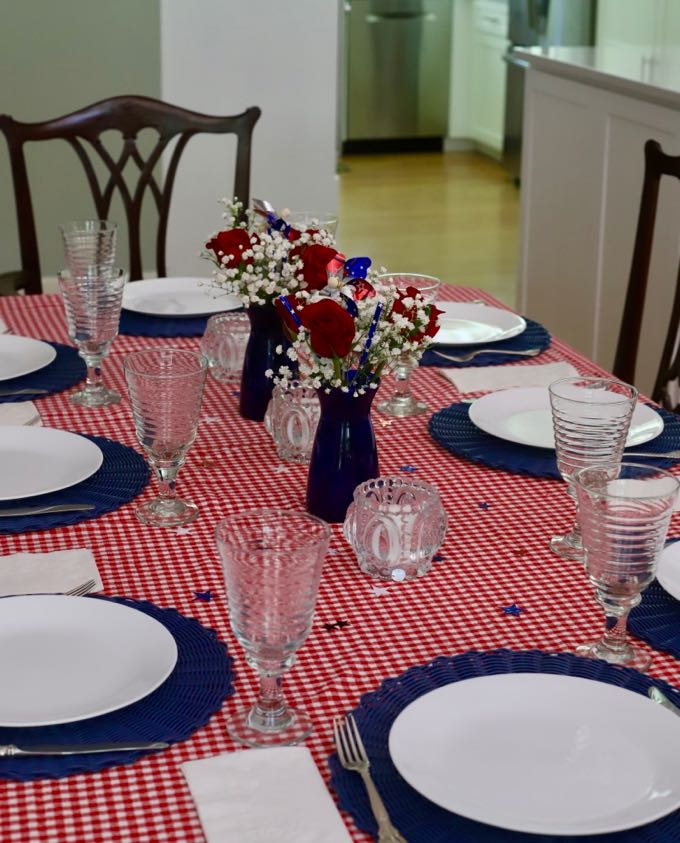 A red, white, and blue table setting for the 4th of July.