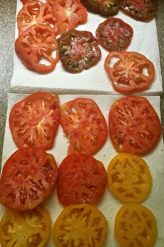 Sliced Tomatoes Draining for Easy Classic Southern Tomato Pie