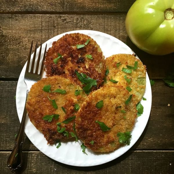A plate of sliced Southern Fried Green Tomatoes ready to eat!