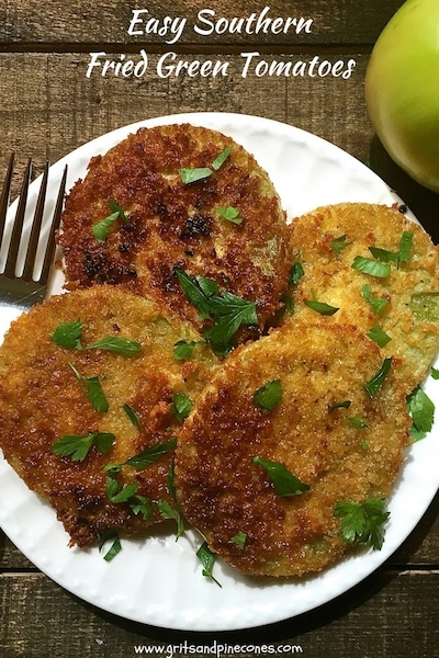 This simple and delicious recipe for Easy Southern Fried Green Tomatoes uses crispy panko crumbs instead of cornmeal and only takes about ten minutes to prepare.