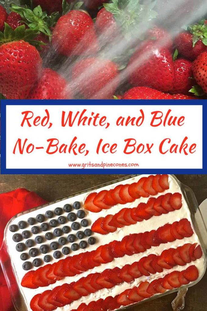 Looking for a Memorial Day dessert? This easy Red, White, and Blue, No-Bake, Make-Ahead Icebox Cake recipe is a dream to make and just as dreamy to eat. You will love this easy 5- ingredient cake filled with fresh sweet strawberries, delightfully juicy blueberries, and light as air whipped cream! Make one today! #memorialdayfood, #iceboxcake, #4thofjulyfood