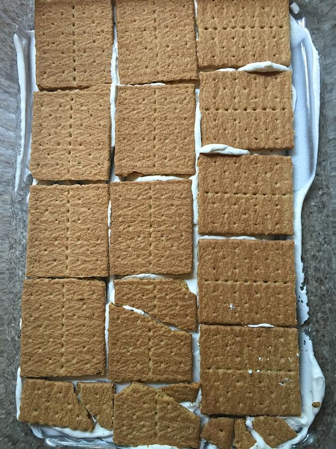 First layer of graham crackers for Red, White, and Blue No-Bake-Icebox Cake
