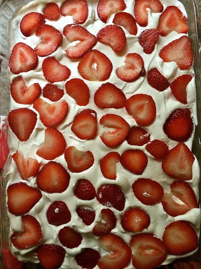 Strawberry layer for Red, White, and Blue No-Bake-Icebox Cake