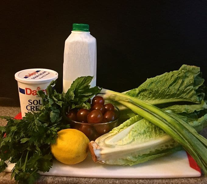Romaine Wedge Salad with Green Goddess Dressing ingredients