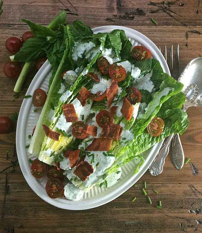 Romaine Wedge Salad with Green Goddess Dressing, a new twist on a old classic