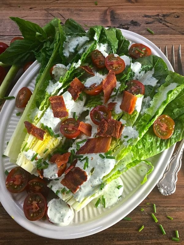 Romaine Wedge Salad with Green Goddess Dressing it's what's for dinner tonight