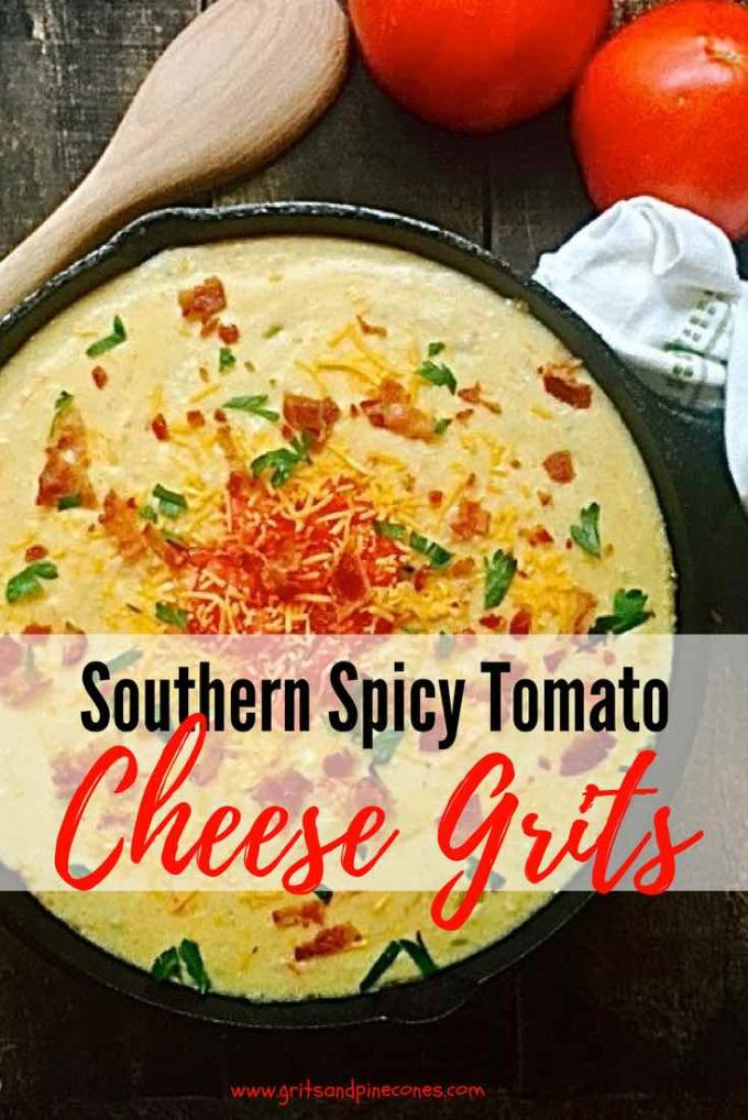 Southern Spicy Tomato-Cheese Grits combines three of my favorite foods, grits, cheese, and bacon in a wonderfully delicious and flavorful one-skillet meal that is so versatile it can be served for breakfast or brunch, lunch or even a light dinner.