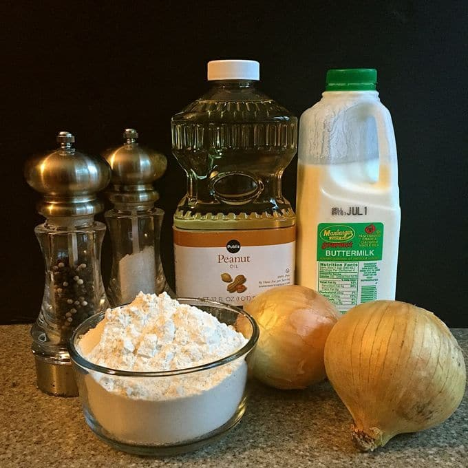 Southern Style Crispy Onion Rings Ingredients