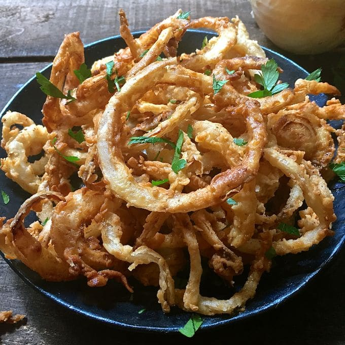 HotSouthern Style Crispy Onion Rings ready to devour.