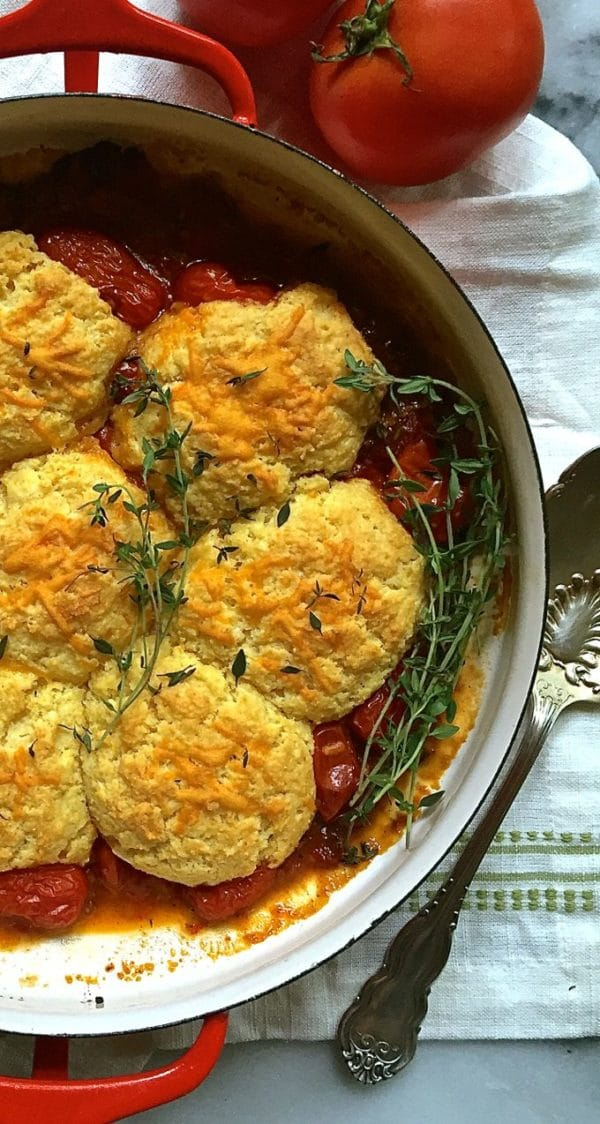 Dig in to this Savory Tomato Cobbler with Cornmeal-Cheddar Biscuits