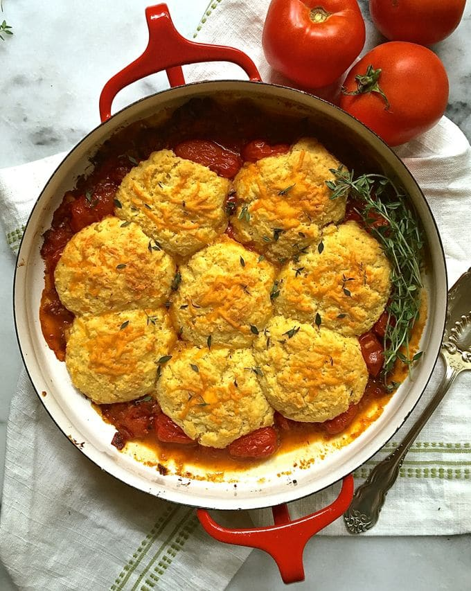 Savory Tomato Cobbler with Cornmeal-Cheddar Biscuits