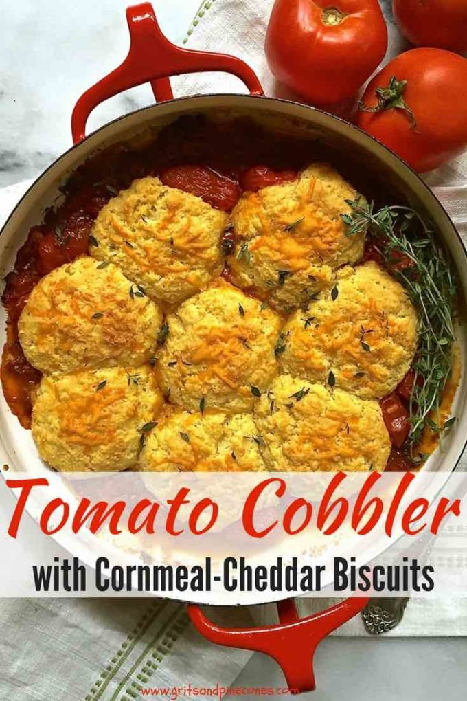 It's summer, and that means fresh ripe and juicy summer tomatoes! And, my southern style, easy Tomato Cobbler with Cornmeal-Cheddar Biscuits is the perfect dish to showcase summer's bounty! This recipe for Tomato Cobbler with Cornmeal-Cheddar Biscuits features juicy tomatoes casserole cooked with onions, garlic, and thyme topped with crunchy cheddar cheese cornmeal biscuits. #dinnerrecipes, #easyrecipes, #tomatoes, #comfortfood, #casserole