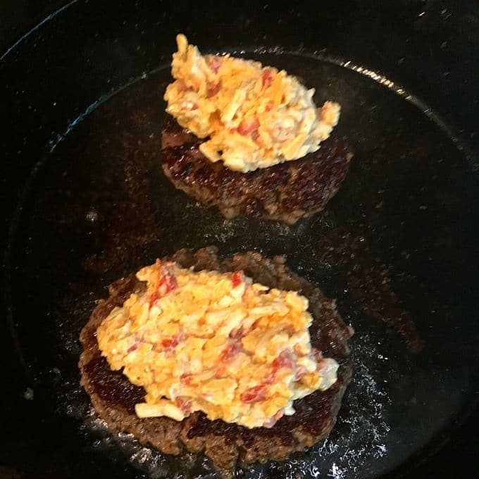 Pimento cheese melting on the Ultimate Southern Style Burger