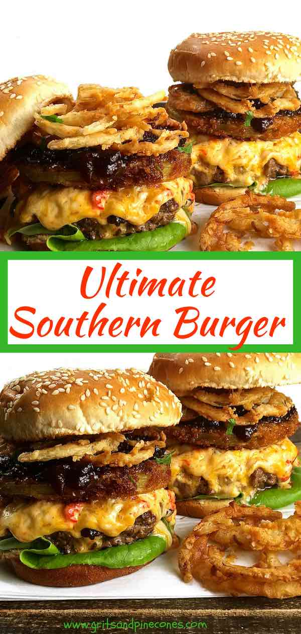 The Ultimate Southern Style Burger offers a unique twist to a classic burger and features melted pimento cheese, fried green tomatoes, onion rings, and tomato jam. This easy decadent and delicious hamburger recipe is the answer to your burger dreams!
