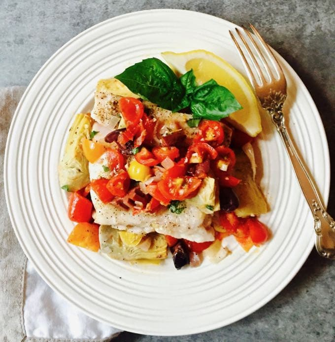 Baked Grouper with Tomatoes and Artichokes ready to eat
