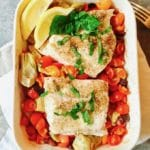 Baked Grouper with Tomatoes and Artichokes right out of the oven