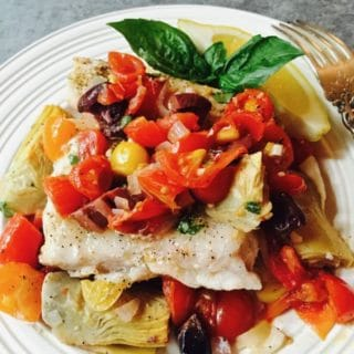 Baked Grouper with Tomatoes and Artichokes