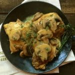 Chicken with Mushroom and Herb Sauce in a serving dish