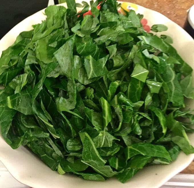 Mary's Healthy Southern Collard Greens cup up and ready to cook
