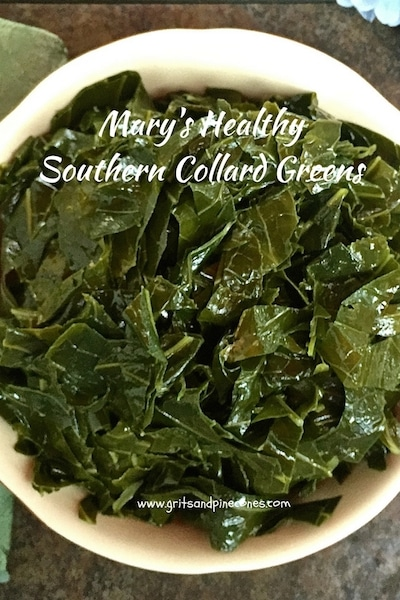 Mary's Healthy Southern Collard Greens are cooked simply without ham hocks which enhances the mild flavor of the fresh greens and keeps them crisp and tender.